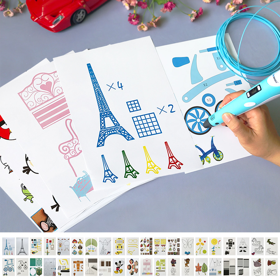 Kids 3D pen necessary help 3D printing pen graffiti board template copy board 20 random special paper 3D pen graffiti template-in 3D Pens from ...