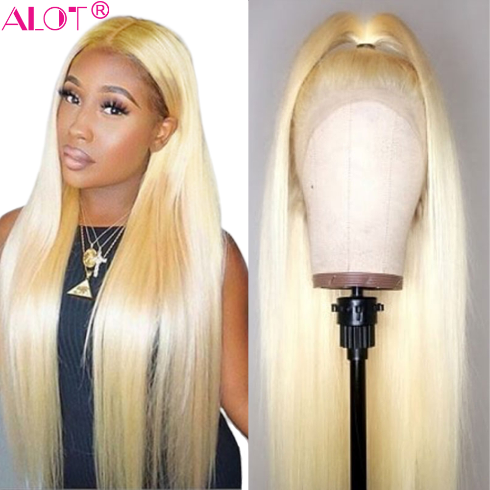613 Blonde Lace Front Wig Brazilian Straight 13x4 Lace Front Human Hair Wigs Pre Plucked Baby Hair Remy Glueless 613 Lace Wigs image