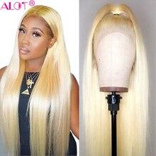 613 sarışın dantel ön peruk orta kısmı brezilyalı düz 13x1 dantel bölüm İnsan saç peruk ön koparıp Remy tutkalsız 613 peruk 150%