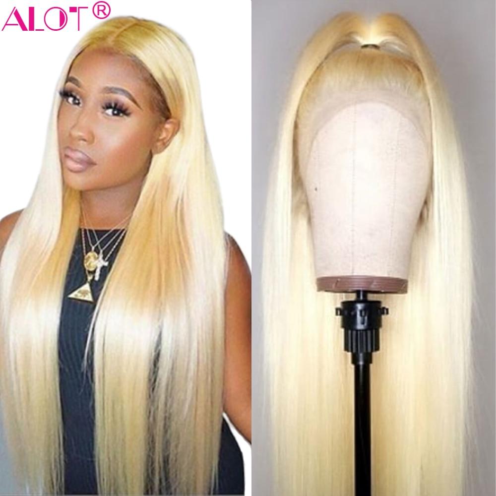 613 блондинка Синтетические волосы на кружеве парик бразильский прямые волосы 13x4 Синтетические волосы на кружеве человеческих волос парики предварительно вырезанные Детские Человеческие волосы Remy для наращивания, натуральные 613) на прозрачной основе