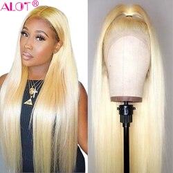 Peluca con malla frontal brasileña recta 613 rubia pelucas de cabello humano con encaje frontal 13x4 cabello de bebé pre-desplumado Remy sin pegamento 613 pelucas de encaje