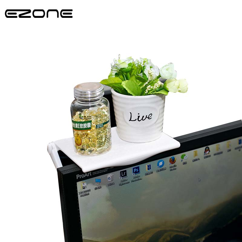 EZONE Screen Shelf Office Desk Clean And Tidy Storage Multi-Function  School Supplies Stationery Rack Plastic Holder Organizer