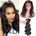 7A Peruvian Virgin Hair Body Wave 2 Bundles With 360 Frontal Pre Plucked 360 Lace Frontal Closure With Bundles Human Hair