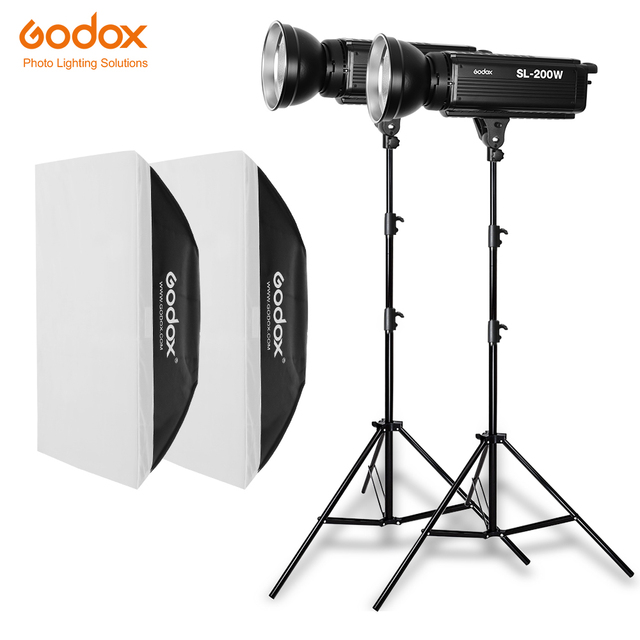 2 ADET Godox SL Serisi Video Işığı SL 200W Beyaz Versiyonu video ışığı Sürekli Işık + 2x70x100 cm Softbox + 2x280 cm Işık Standı