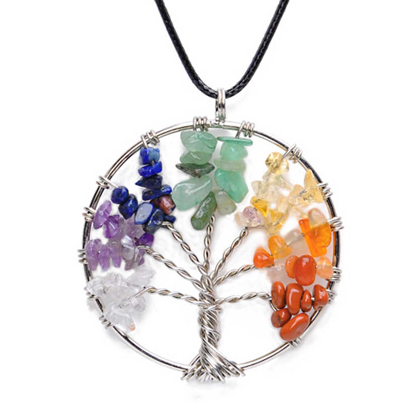 Heart Round Tree Of Life Chakra 7 Color Pendant Necklace Jewelry Family Gift Wire Healing Energy Reiki Balance Stone