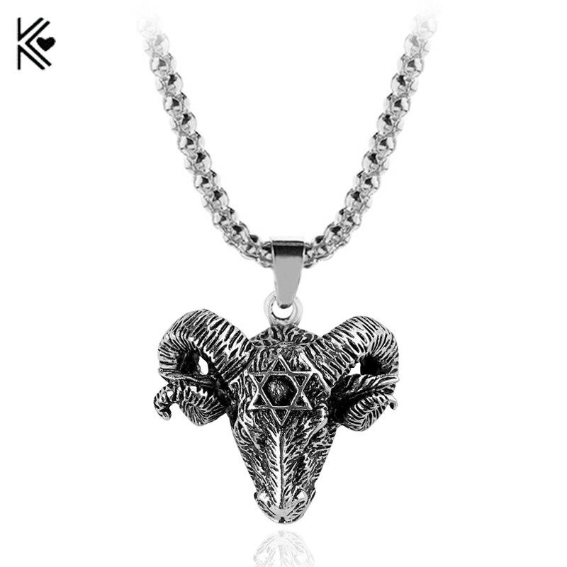 New Arrival Vintage Goat Sheep Head Necklace Devil Pan God Silver Color Necklaces Hollow Sheep Punk Pendant For Women Men
