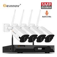 Einnov 4CH 5MP H.265 Sicherheit Kamera System Wireless Mit Audio Aufnahme Video Überwachung Kit IP Kamera NVR CCTV Set Im Freien-in Überwachungssystem aus Sicherheit und Schutz bei