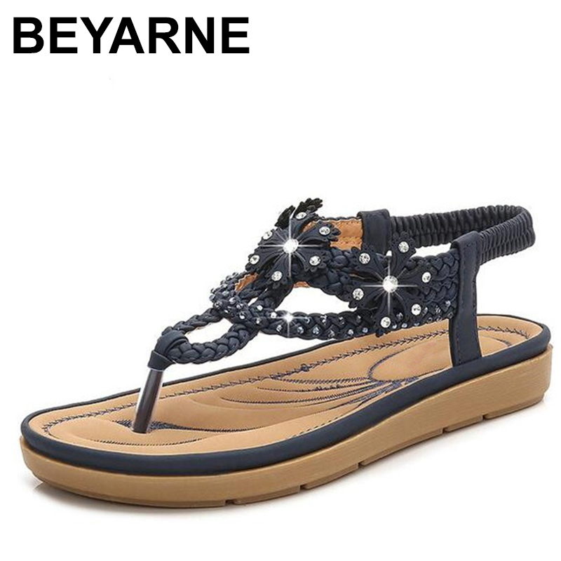 BEYARNES Bohemia Style Woman Shoes String Bead Platform Shoes Woman Summer Women Sandals Party Fashion Flat Sandals