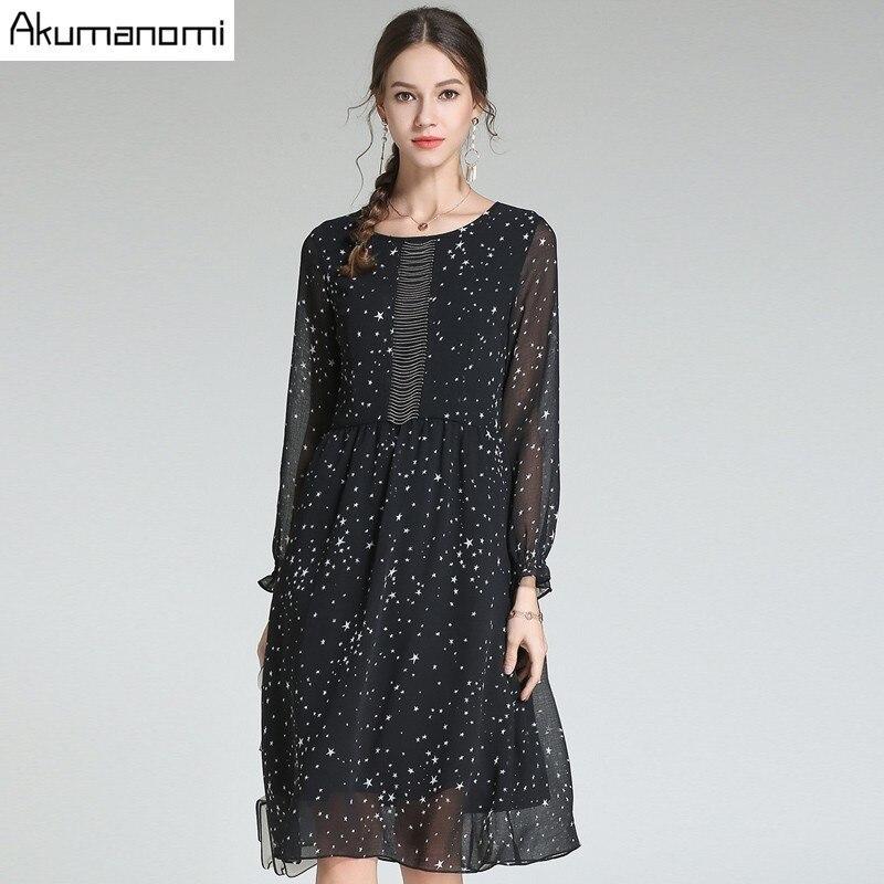 Autumn Chiffon Dress Women Clothing Black Beading O neck Lantern Full Sleeve Stars Print Spring Dress