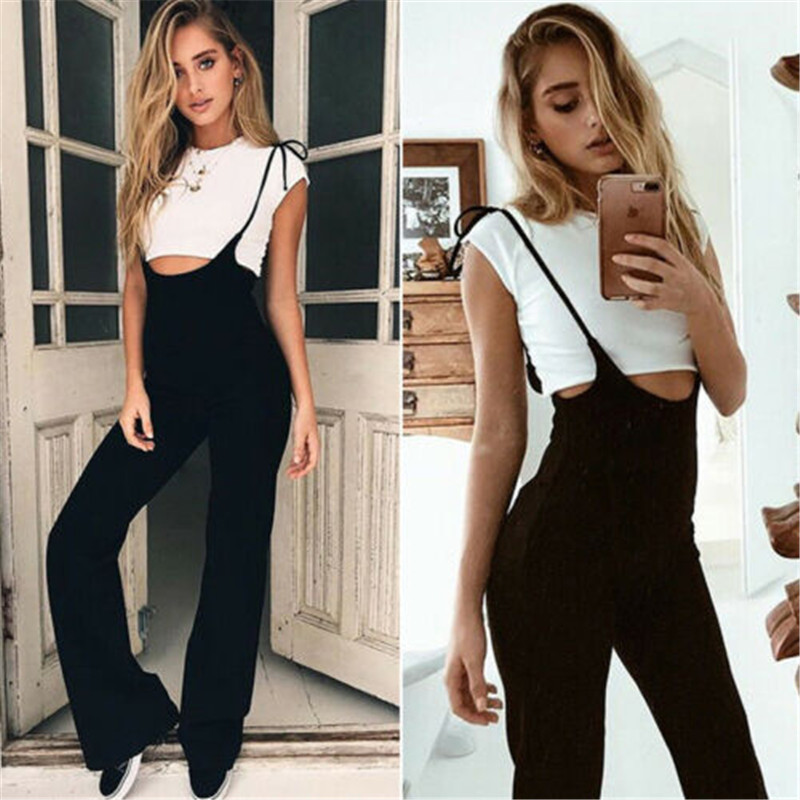 Sleeveless Strapped Dungaree Jumpsuits Women Solid Black Overalls Casual Loose Pockets Long Harem   Pants   Baggy Bib Trousers Lady