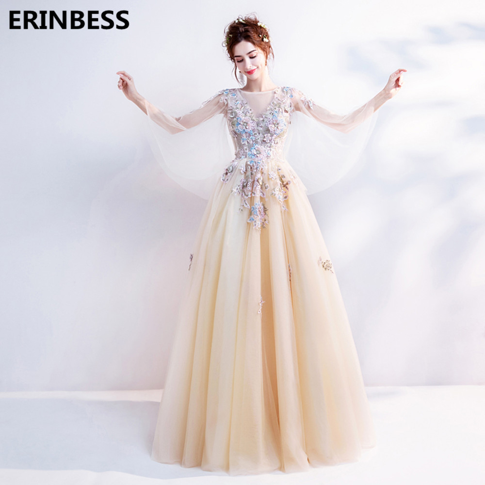 Vestido De Festa Tulle With Flower   Evening     Dress   A-line Robe De Soiree Scoop Neck   Evening     Dresses   Long   Dress   Party Gowns 2019