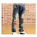 Meninos 2017 Novo Inverno Grossas Calças Jeans Rasgados Casuais Crianças Moda Crianças Pouca Roupa Esporte Criança Denim Calças Skinny Azul