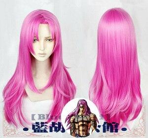 Image 1 - Anime JoJos Bizarre Adventure Golden Wind Diavolo 80cm Long Rose Red Hair Heat Resistant Cosplay Costume Wigs + Wig Cap