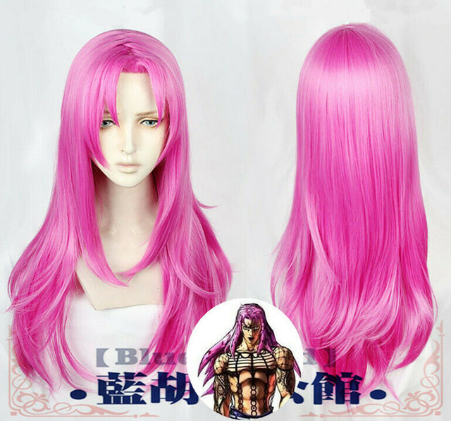 Anime JoJos Bizarre Adventure Golden Wind Diavolo 80cm Long Rose Red Hair Heat Resistant Cosplay Costume Wigs + Wig Cap