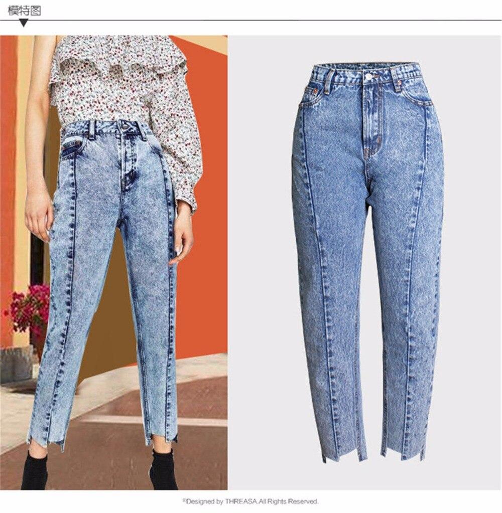 Jeans Woman High Waist Jeans Mom Boyfriend Jeans Femme Push Up Denim Ankle-Length Pants Large Plus Size Ladies Winter