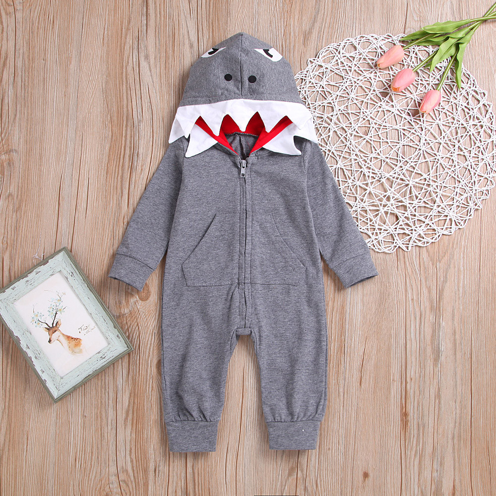Baby Boy Clothes Hot Cute 1pcs 3d Shark Gray Romper Jumpsuit Winter Hooded Playsuit Costume For Boy Girl Baby Clothes Kids Cloth Mother & Kids