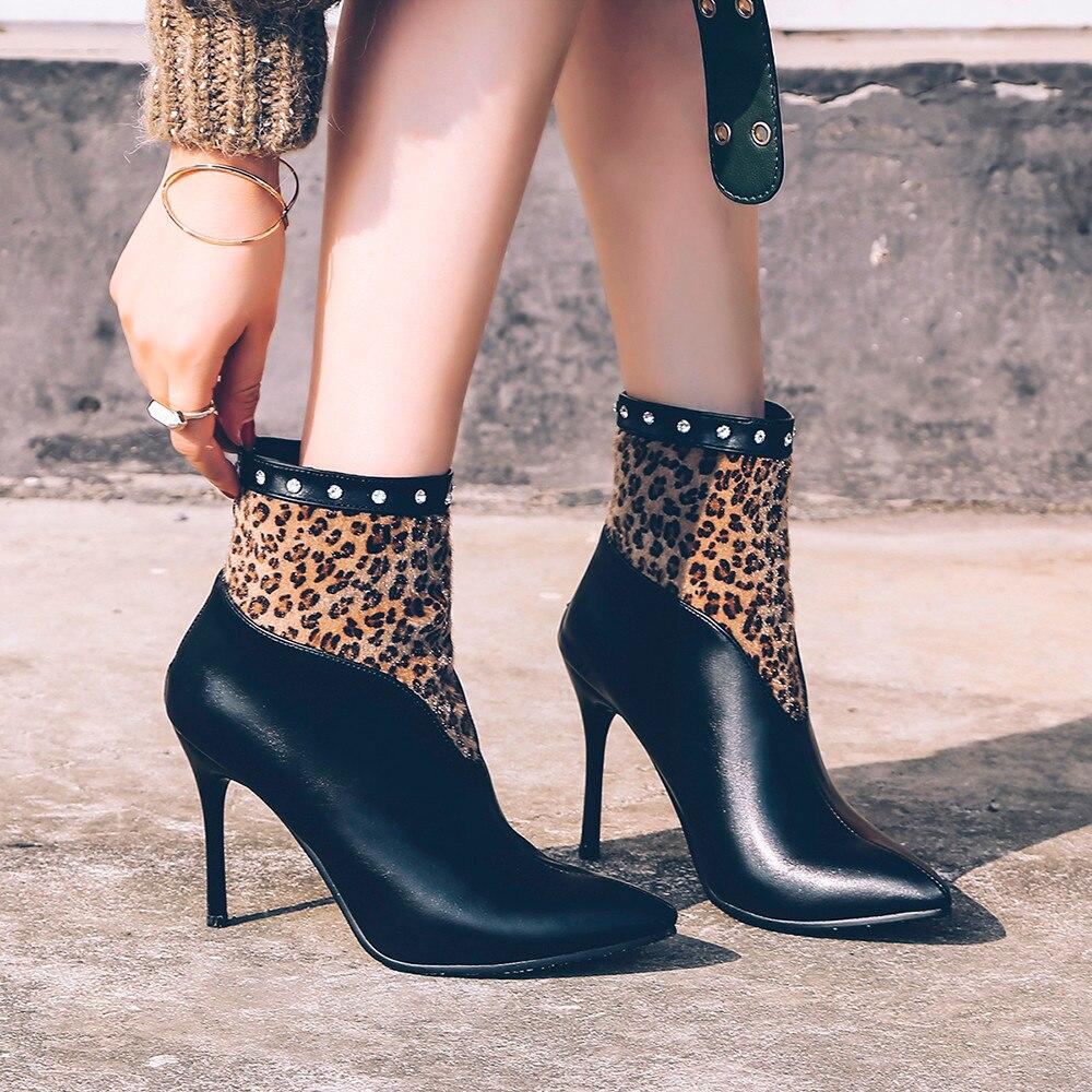 Del Casuales Leopardo Tinto vino Mujeres Alto Zapatos Las Puntiagudo Botas Arranque Pie Tobillo Remache Muqgew Negro Tacón Dedo 2018 De FwApqY