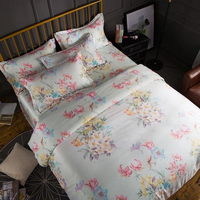 Flower Printed 4Pcs Tencel Softest Silky Bed sheet Bedlinen Duvet cover Pillow shams Queen King Twin size Bedding set Bed set