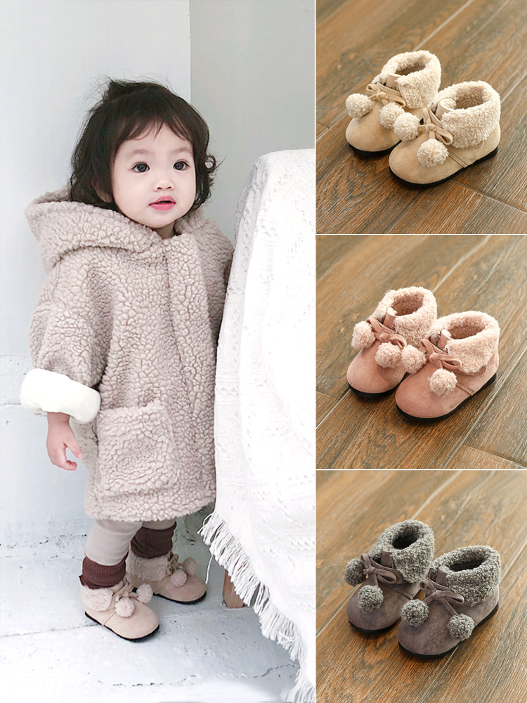 Female baby cotton shoes 1 3 years old baby princess shoes plus velvet baby 2 winter shoes toddler shoes girls children