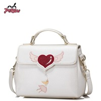 JUST STAR Women S PU Leather Handbag Ladies Fashion Love Embroidery Tote Shoulder Purse Female Flap