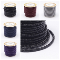 4mm about 5m/roll Braided Leather Cord Thread for Beading Jewelry Necklace Bracelet Making DIY Material, White Black Purple