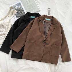 Mooirue осень Femme коричневый Блейзер однобортный хлопок восстановление тонкий костюм свободный офисный кардиган Женские топы