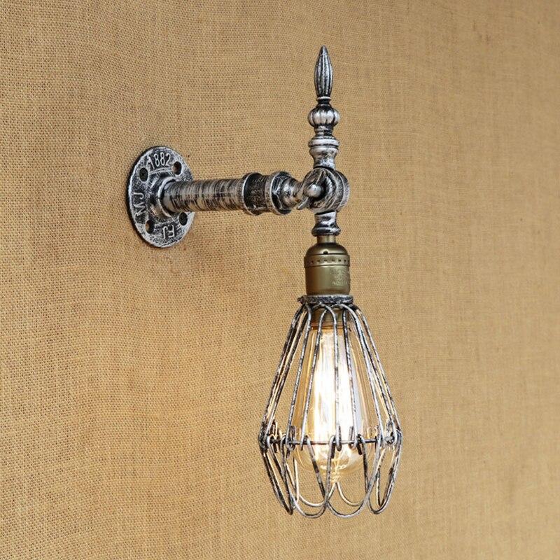 Işıklar ve Aydınlatma'ten Duvar Lambaları'de Vintage Duvar Lambası Avrupa Endüstriyel Duvar Aplik Edison Ampul Duvar Lambası Retro Gümüş Metal oturma odası yatak odası restoran title=