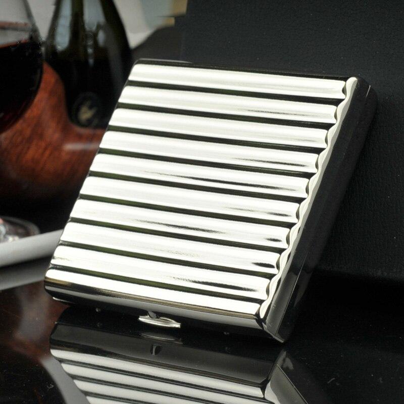 COSY MOMENT 1pc Corrugated Design Silver/Gold Brass Cigarette Box Metal Brand Cigarette Case Holder Box For 20 Cigarettes YJ423