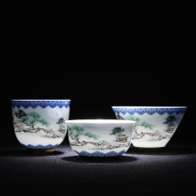 Embossed Kung Fu Teacups Blue And White Porcelain Tea Cups Chinese Set Ceramic Cup Saucer Vintage Service
