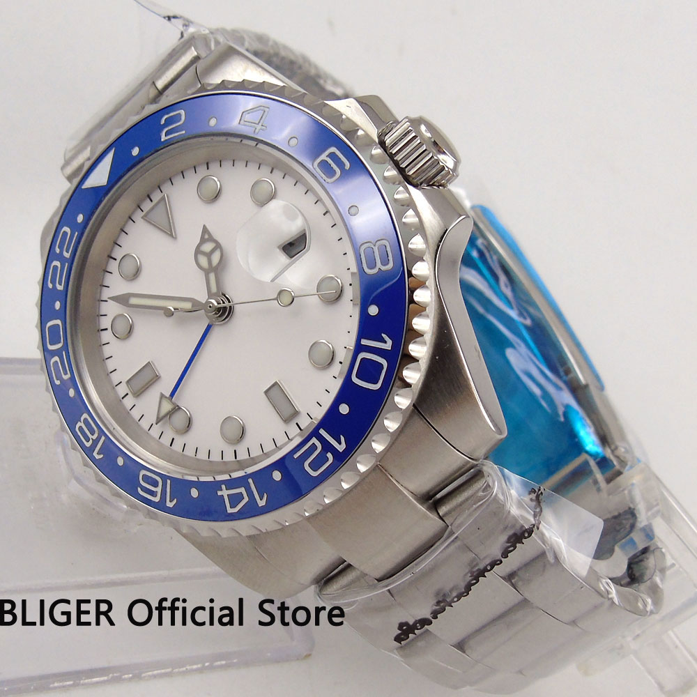 Sapphire Crystal BLIGER 40MM White Sterile Dial Blue Ceramic Bezel GMT Function Luminous Marks Automatic Movement Men's Watch solid bliger 40mm white sterile dial blue ceramic bezel gmt function luminous hand date clcok automatic movement men s watch b51