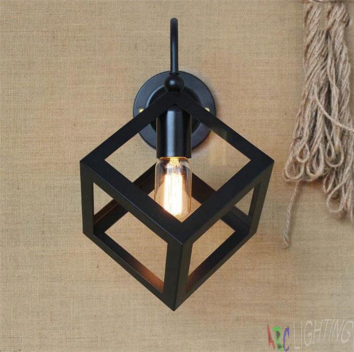 Vintage Black Metal Small Iron Box Wall Lamp Edison Light Bulb ...
