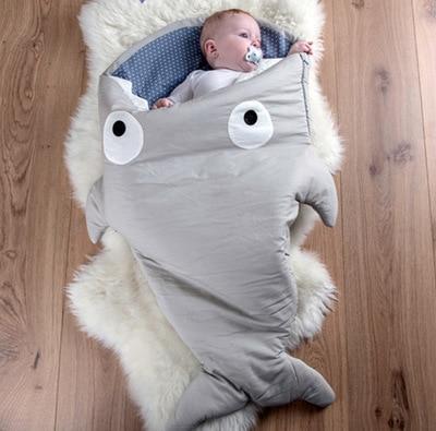 2016 new hot sale shark sleeping bag thick cotton super keep warm shark baby sleeping bag