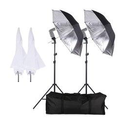 Photo Studio Continuous Umbralle Lighting Kit with 2*2m Light Stand + 2*Holder Type B +2*83cm Translucent White Soft Umbrella