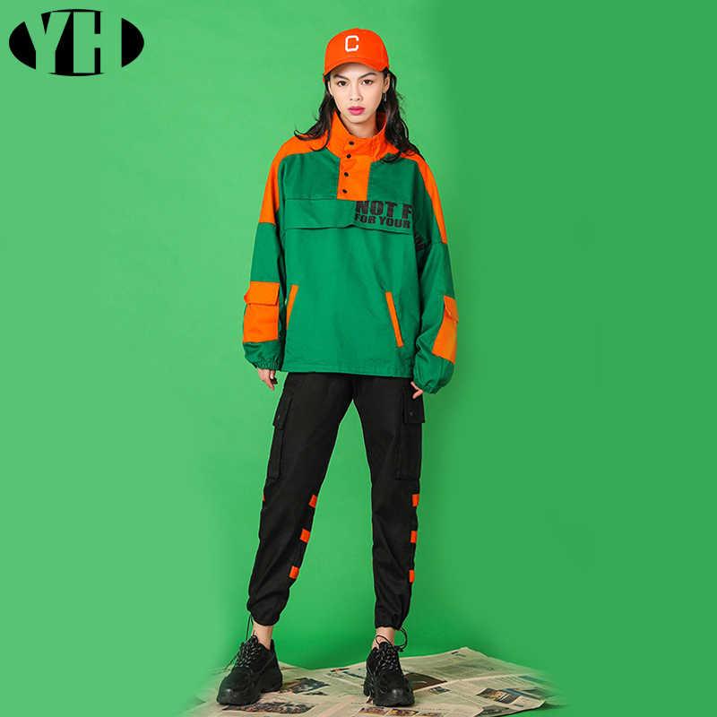2019 Новое поступление, женский весенний тренировочный костюм, комплект из 2 предметов, зеленое пальто с черными штанами, свободные брендовые модные игривые наряды в стиле хип-хоп