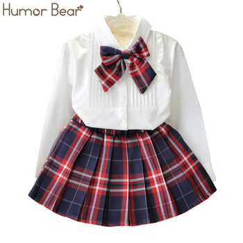 Humor Bear Autumn Kids Baby Girl Clothes Long Sleeve T-shirt+Grid Skirt +bowknot Casual 3PCS suits Student Girls' Clothing Sets 1