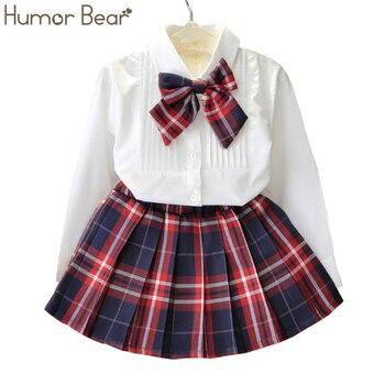Humor Bär Herbst Kinder Baby Mädchen Kleidung Langarm T-shirt + Gitter Rock + bowknot Casual 3 PCS anzüge Student Mädchen Kleidung Sets