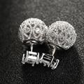 Nueva joyería de la manera ahueca hacia fuera el doble cara stud pendientes micro pave cz aretes de diamantes para las mujeres aretes de regalo de chrismas
