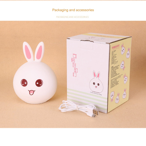 Image 5 - Cute Rabbit Silicone LED Night Light USB Rechargeable Baby Bedroom Night Lamp Touch Sensor Light for Children Baby Gift