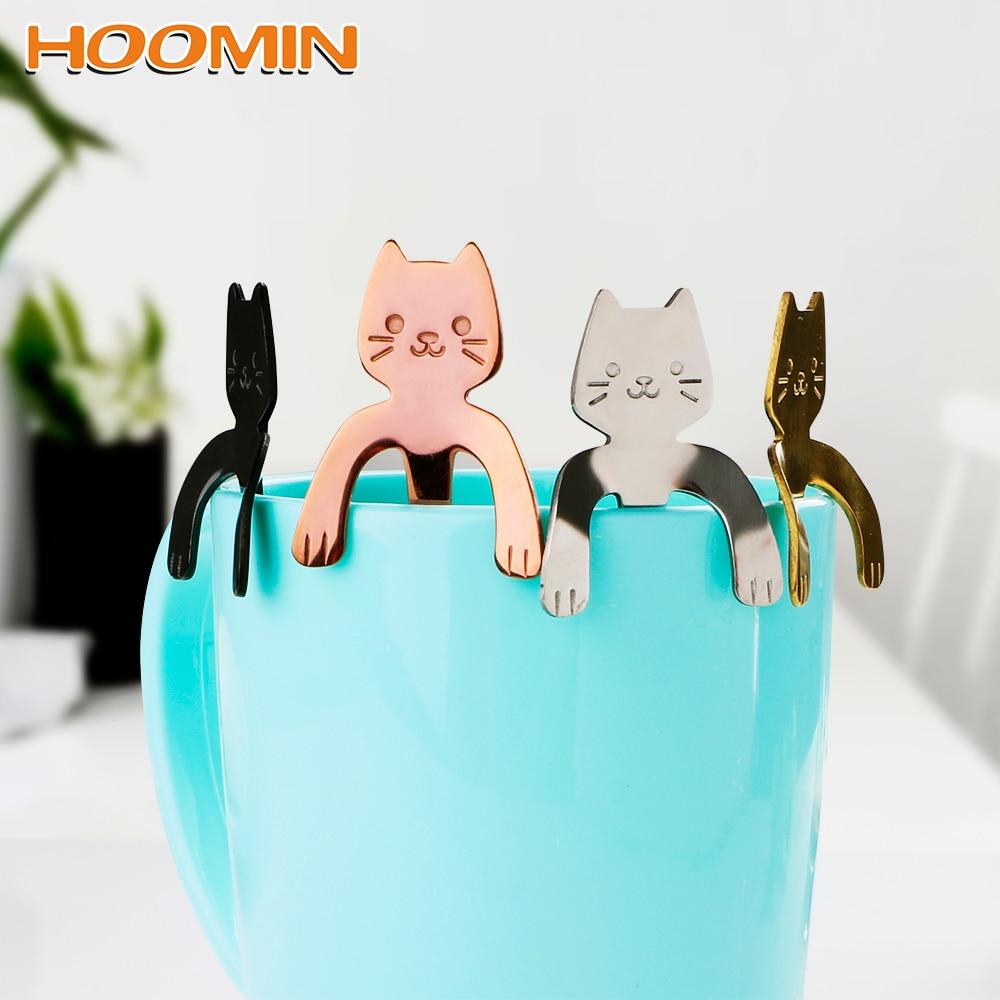HOOMIN Ice Cream Dessert Spoons Mini Drinking Tools Stainless Steel Tableware for Bar Party Cute Cat Teaspoons Tea Coffee Spoon