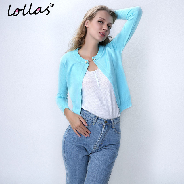 lollas New Solid Color Fashion Women Sweater Female Cardigan Thin Outerwear Summer Short Design Knit Long-sleeve Sweater