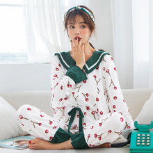 7d8ff55dab Nursing Maternity Pajamas 2019 Spring New Korean Print Cherry Cotton Pajamas  For Pregnant Women Breastfeeding Sleepwear Set A320