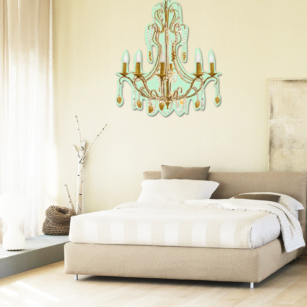 European hot sell 3 d creative noctilucent luxury crystal european hot sell 3 d creative noctilucent luxury crystal chandeliers wall stickers background of bedroom luminous wallpaper in wall stickers from home arubaitofo Gallery