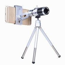 Big discount Universal 12X Zoom Phone lenses Kit Telephoto Telescope Lens Tripod Holder For Iphone 5 5S 6S Plus 7 Camera Mobile Phone Lens