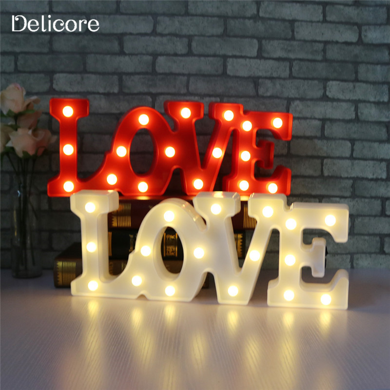 DELICORE LED Night Light Sign 3D LOVE Marquee USB And Battery Operated Luminaria Desk Lamp For Lover's Gift Wedding Decor M128 decor and gift