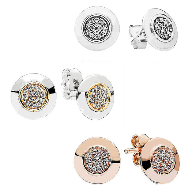 Rose Gold Silver Two Tone Signature Earring 925 Sterling Earrings Studs For Women Wedding