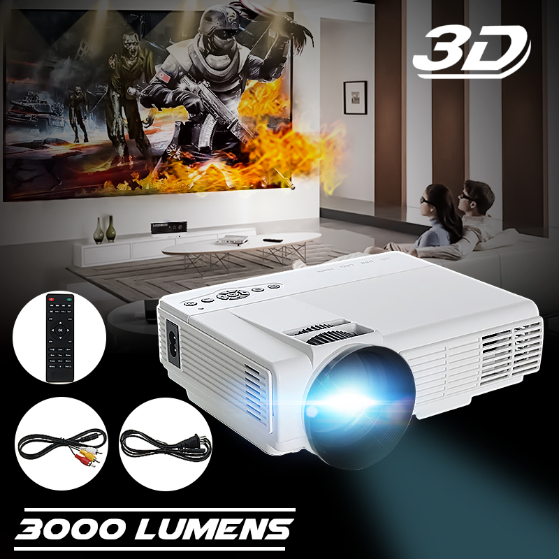50Lumens HDMI LED Projector 3D 1080P Full HD VGA USB Home Theater Multimedia 1080p hd home cinema theater multimedia led projector av vga usb hdmi futural digital jull13