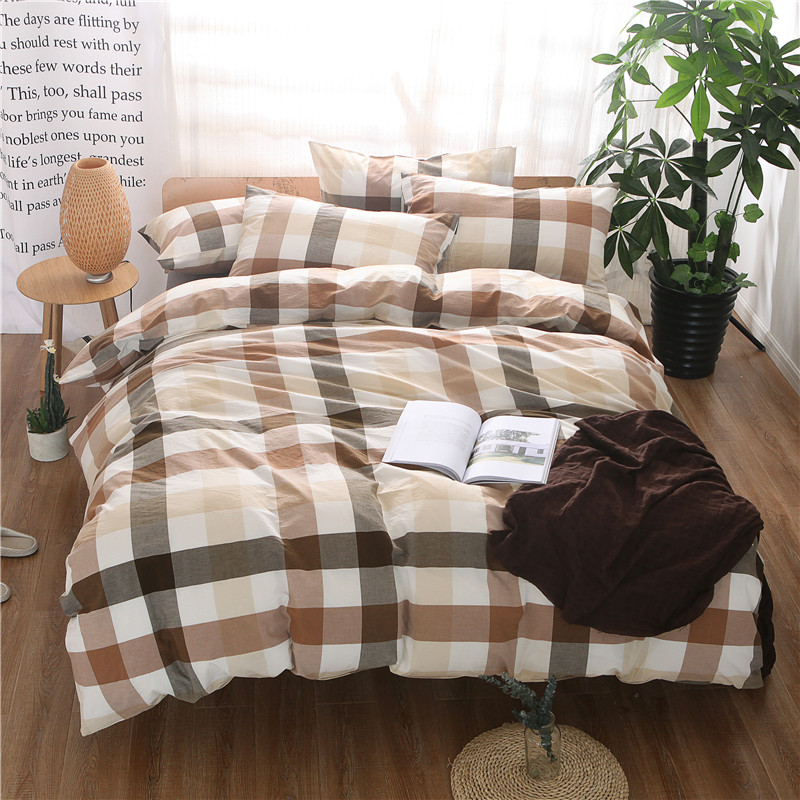 100%Cotton Coffee Plaid Bedding set King Queen Double Size Bed Set  Duvet Cover Bed Sheet set Pillowcases Soft Bedclotehs for 40100%Cotton Coffee Plaid Bedding set King Queen Double Size Bed Set  Duvet Cover Bed Sheet set Pillowcases Soft Bedclotehs for 40