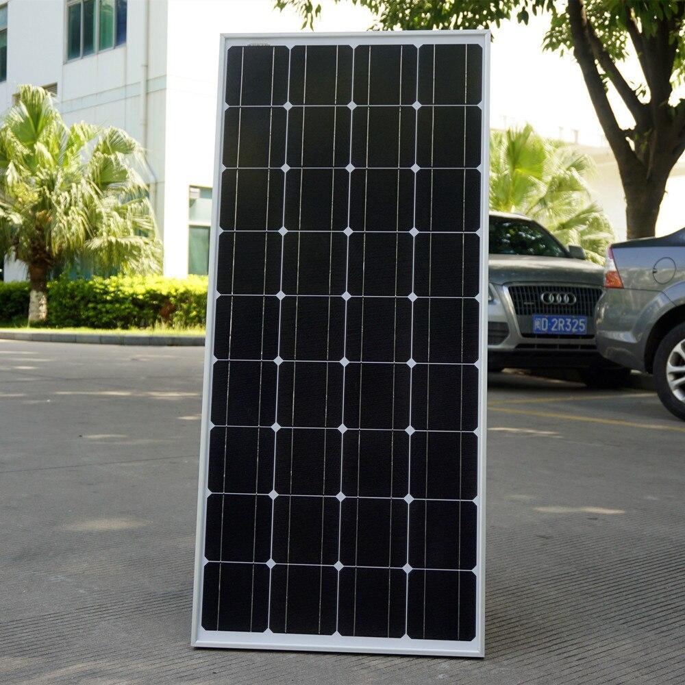 цена на 2017 USA Stock 100 W Monocrystalline Solar Panel  for 12V Battery RV Boat , Car, Home Solar Power &Free Shipping