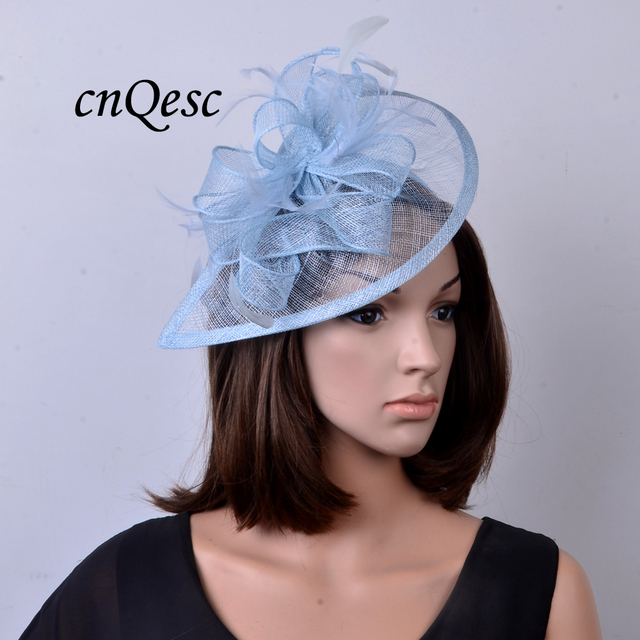 a942260d NEW colour Pale blue Feather sinamay fascinator hat for Wedding,Ascot  Races,Party,Kentucky Derby,Melbourne Cup.FREE SHIPPING.