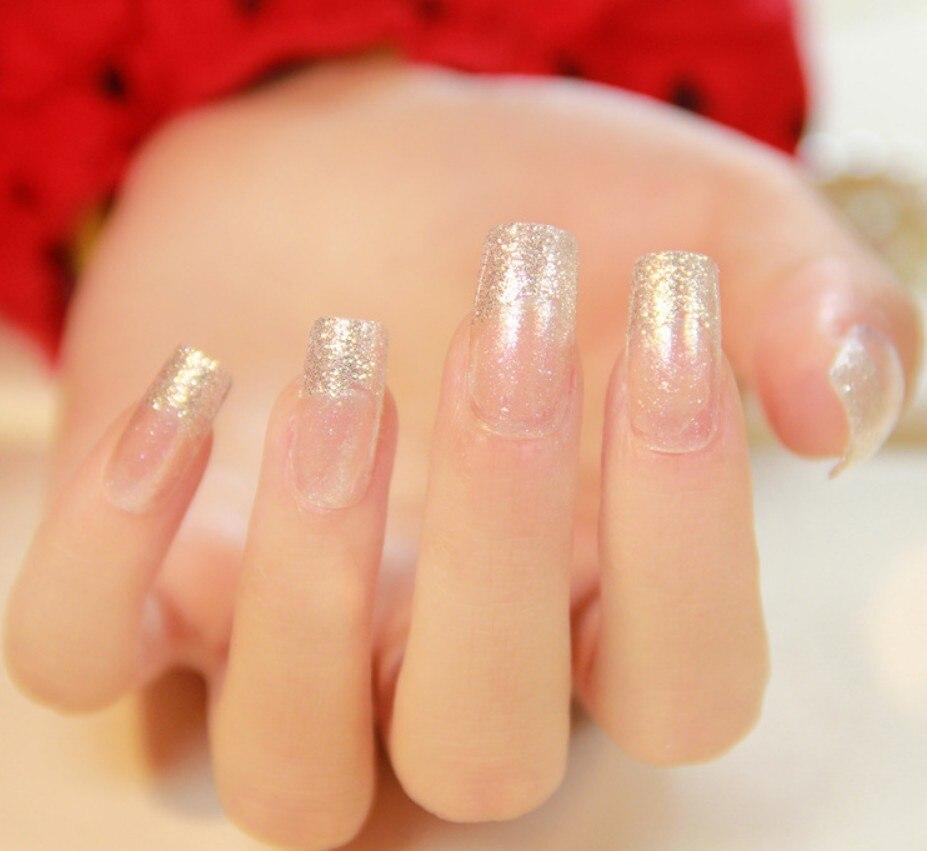 24Pcs/Set Fake Nails With Glue Full Nail Tips Artificial Stiletto ...